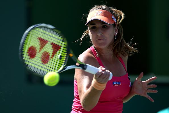 Belinda Bencic Plays A Shot Against Magdalena Rybarikova. Photo: Sean M Haffey/Getty Images
