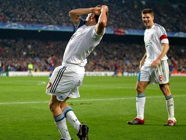 Craig Bellamy celebrates scoring at the Nou Camp (photo: Guardian)