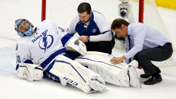 Ben Bishop suffers injury in Game 1 of the Eastern Conference Finals. | Photo: pittsburgh.cbslocal.com