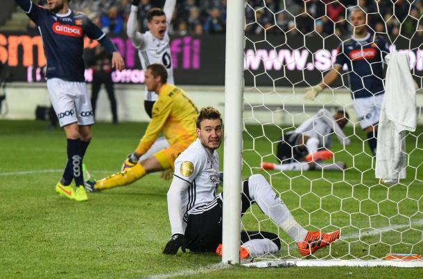 Bendtner, en un partido de Liga | Foto: Rosenborg