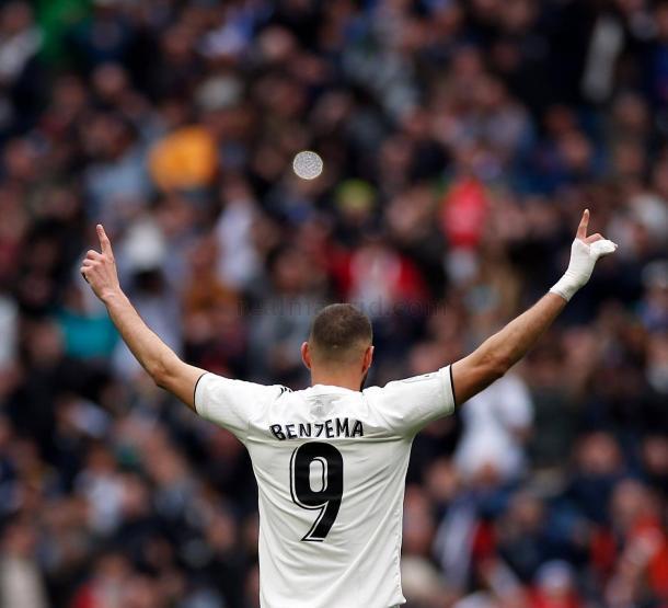 Benzema celebra un gol ante el Athletic Club   Fuente: www.realmadrid,com