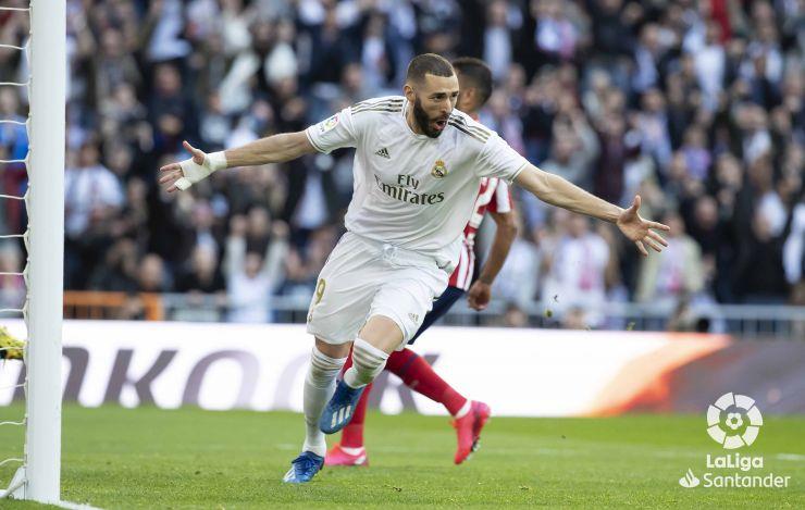 Benzema abre el marcador en el último derbi. Fuente: La Liga