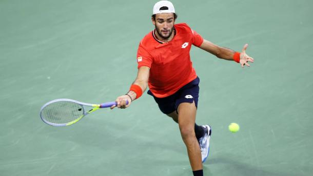 Berrettini hits a forehand during his first round victory/Photo: Simon Bruty/ATP Tour