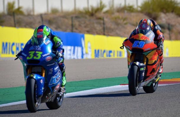 Enea Bastianini y Jorge Martín durante el GP de Aragón / Foto: motogp.com