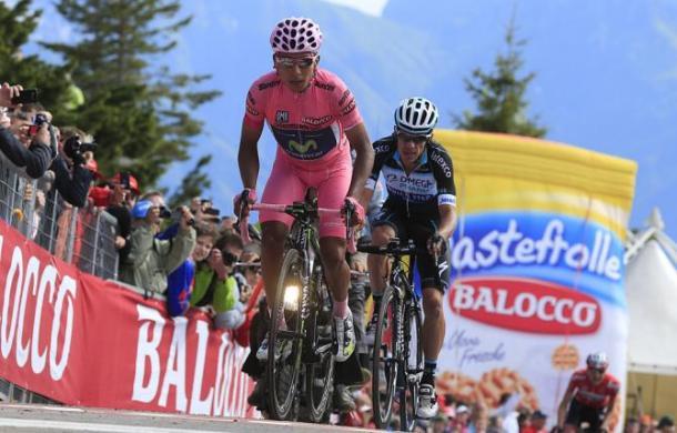Nairo Quintana in maglia rosa nel 2014. Fonte: BettiniPhoto