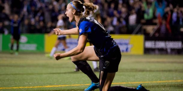 Yanez celebrates scoring a key goal as Seattle looked to advance in the 2014 playoffs | Source: nwslsoccer.com