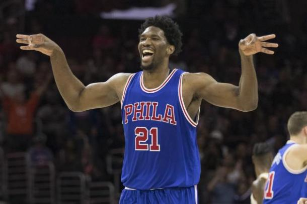 Joel Embiid seems to be the claer choice in winning the Rookie of the Year. Photo: Mitchell Leff/Getty Images