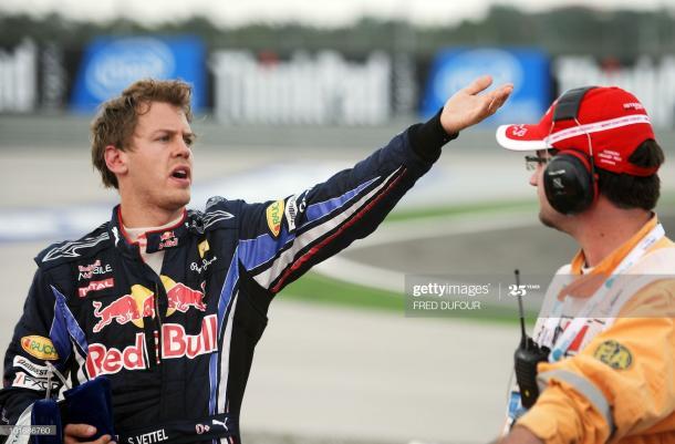 Vettel visiblemente enfadado tras su accidente con Webber en el GP de Turquía de 2010 / Foto: Getty Images