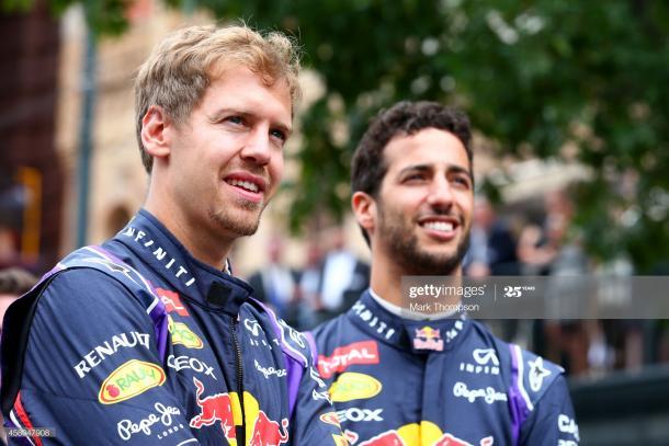 Vettel y su compañero de equipo en 2014, Daniel Ricciardo / Foto: Getty Images