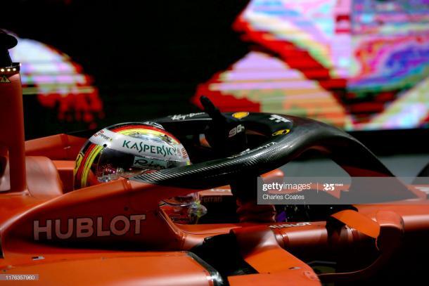 Vettel en el Gran Premio de Singapur celebrando su única victoria de la temporada 2019 / Foto: Getty Images