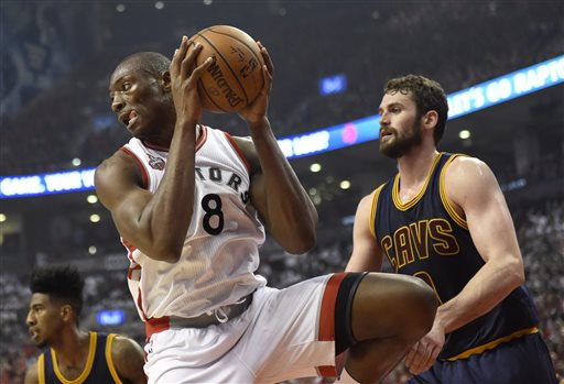 Bismack Biyombo (8) seen grabbing one of the 26 rebounds he had in Game 3 of the 2016 NBA Eastern Conference Finals. Photo: Frank Gunn/The Canadian Press via AP