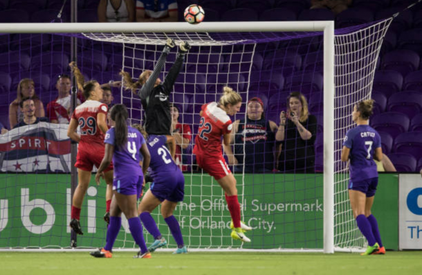 Aubrey Bledsoe makes a save for Orlando against the Washington Spirit while starting goalkeeper Ashlyn Harris was injury in 2017. | Photo: Joe Petro - Icon Sportswire via Getty Images