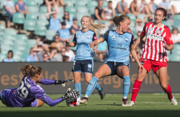 Defender Emily Sonnett shields Jodie Taylor from the ball while Aubsrey Bledsoe makes the save for Sydney FC in the 2018 W-League Grand Final. | Photo: Steve Christo - Corbis via Getty Images
