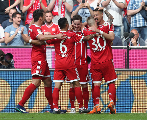 Sandro Wagner comemora seu 12º gol na temporada (A. Beier/Getty Images for FC Bayern)