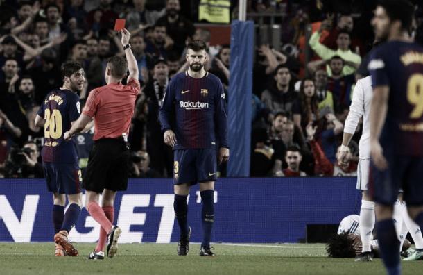 Expulsión de Jordi Alba. Imagen: EFE