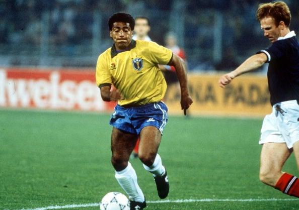 Romário em sua única atuação na Copa de 90 (Foto: Bob Thomas via Getty Images)