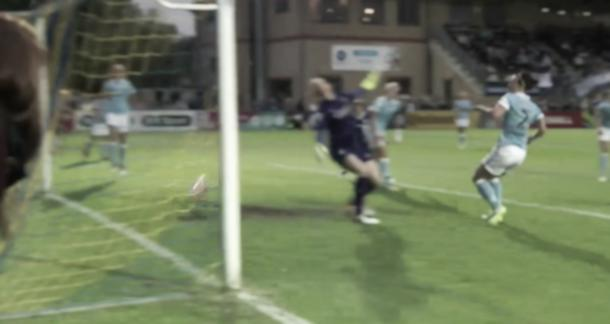 The ball shuddered against the bar but clearly didn't cross | Credit: BBC Sport