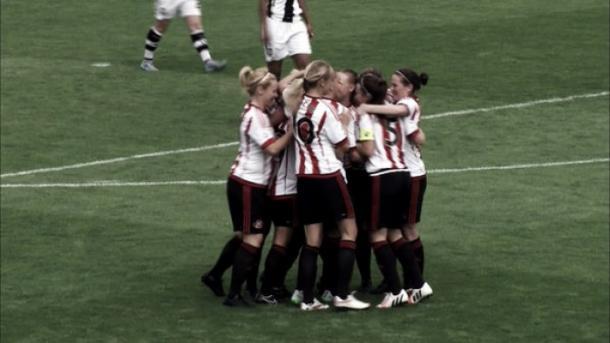 Sunderland celebrate their equaliser last weekend. (Photo: Sunderland AFC Ladies)