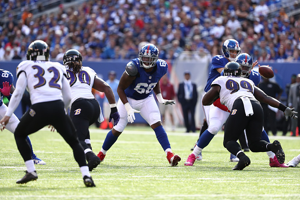 New York Giants tackle Bobby Hart playing against the Baltimore Ravens in October 2016 (Photo by Al Bello/Getty Images)
