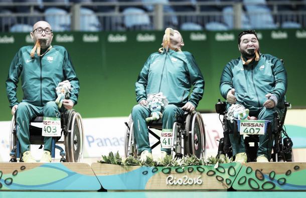 Grupo de Brasil no segundo lugar do pódio (Foto: Divulgação/Brasil 2016)