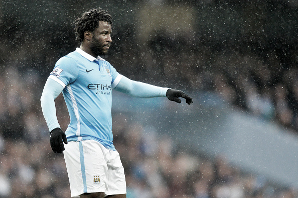Wilfried Bony playing in the rain for Manchester City