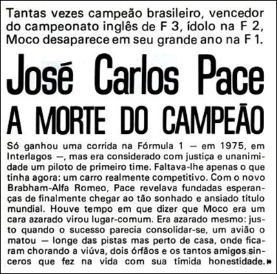 Matéria de jornal sobre a morte de José Carlos Pace