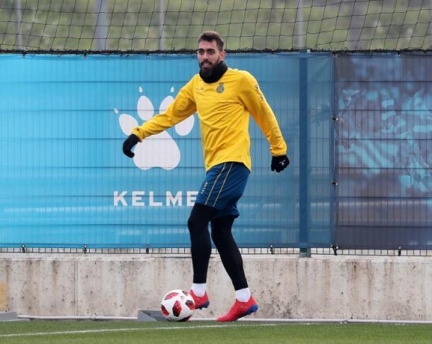 Borja Iglesias en el entrenamiento. Foto: Web RCD Espanyol.