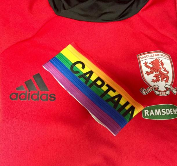 The armband Ben Gibson will wear today | Photo: @Boro on Twitter