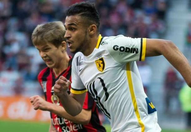 Boufal playing against Puel's Nice last season. Photo source: Goal.com