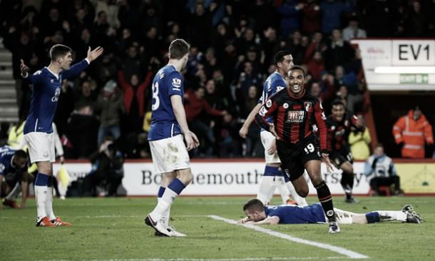 Junior Stanislas celebrates scoring Bournemouth's second goal in their 3-3 draw with Everton. | Image: Reuters