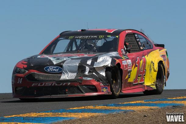 Clint Bowyer's battered Lightning McQueen liveried car came home to complete a Stewart-Haas 1-2   Picture Credit: Brandon Farris