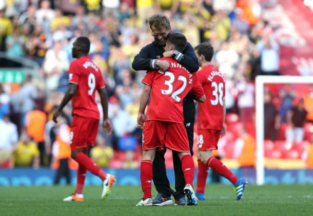 Brannagan, pictured with Klopp, is highly rated at Anfield (photo: Getty)