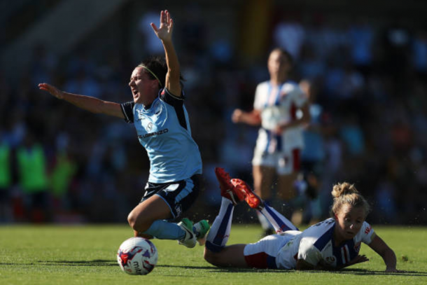 Newcastle's Hannah Brewer is given a red card for this challenge against Sydney FC's Lisa De Vanna. | Photo: Mark Metcalfe - Getty Images