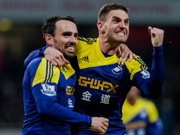 Leon Britton and Angel Rangel have been stalwarts at the Liberty for some time. (Photo: Swansea City AFC)