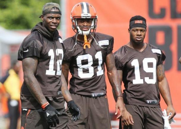 Josh Gordon #12 Rashard Higgins #81 and Corey Coleman #19. |Mary Kay Cabot