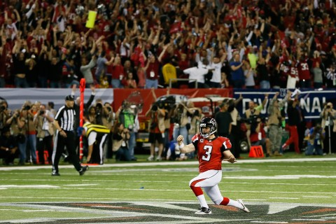 Matt Bryant celebrates his game-winning field - Seattle in the 2012 NFL Playoffs. (Source: Kevin C. Cox/Getty Images)