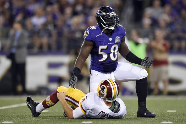 Dumervil in pandemonium after getting a sack on Redskins QB Kirk Cousins (Photo: Getty Images)