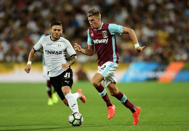 Wigan Athletic loanee Reece Burke in action during West Ham's 1-1 draw with Astra Giurgiu | Photo: whufc.com
