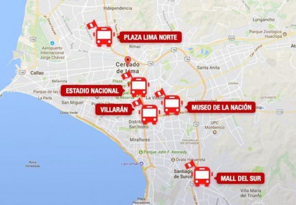 Estos serán los puntos de paradero que tendrán los buses particulares con destino al Estadio Nacional.