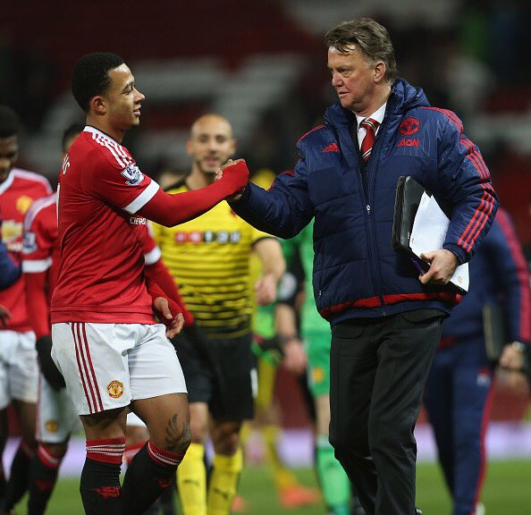 Van Gaal looking pleased with Memphis after seeing his side win 1-0 | Photo:Getty Images