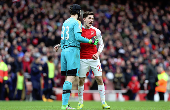 Petr Cech - celebrating alongside teammate Hector Bellerín following last weekend's dramatic victory v Leicester | Image: Getty