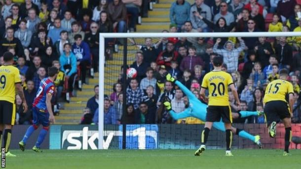 Cabaye scores a penalty in Palace's 1-0 win at Vicarage Road earlier this season | Photo: Reuters