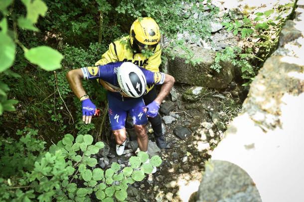 La espectacular caída de Gilbert ha sido una de las imágenes del día. Foto: Tour de France