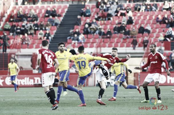 Momento del partido Nàstic - Cádiz | Fuente LaLiga.es