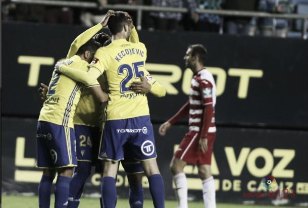 Celebrando el gol anotado ante el Granada CF | Foto LaLiga