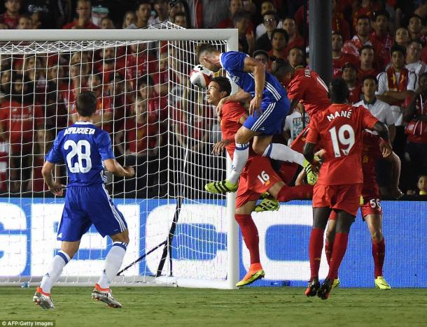 Cahill's header saw Liverpool defeated in California on Thursday morning (photo; Getty Images)
