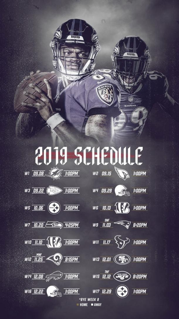 Así será el 2019 para Baltimore Ravens. Foto: Ravens