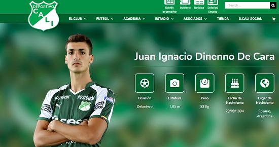 Juan Dinneno, delantero del Deportivo Cali. Imagen: Deportivo Cali.