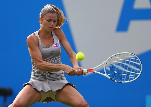Camila Giorgi during the match. Photo: Steve Bardens/Getty Images
