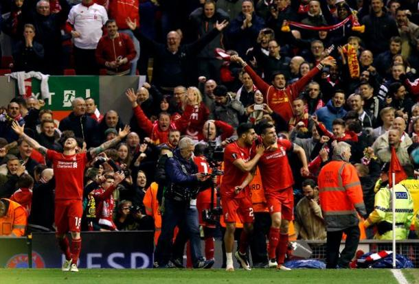 Can pictured celebrating with Lovren after the winning goal (photo: Zimbio)
